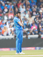 Jasprit Bumrah (India) rues the chance of Taylor which is missed during India vs New Zealand, ICC World Cup Semi-Final Cricket at Old Trafford on 9th July 2019