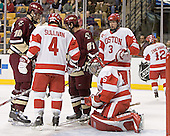 Brian Boyle, Sean Sullivan, Benn Ferreiro, John Curry, Kevin Schaeffer - The Boston University Terriers defeated the Boston College Eagles 2-1 in overtime in the March 18, 2006 Hockey East Final at the TD Banknorth Garden in Boston, MA.