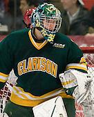Paul Karpowich (Clarkson - 33) - The Harvard University Crimson defeated the visiting Clarkson University Golden Knights 3-2 on Harvard's senior night on Saturday, February 25, 2012, at Bright Hockey Center in Cambridge, Massachusetts.