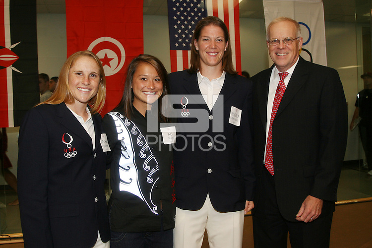 STANFORD, CA - OCTOBER 10:  Rachel Buehler, Ali Riley, Nicole Barnhart and President John Hennessy during a VIP reception for the 2008 Beijing Olympians on October 10, 2008 at the Arrillaga Family Sports Center in Stanford, California.