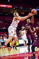 College Park, MD - NOV 16, 2016: Maryland Terrapins center Brionna Jones (42) fights for a rebound during game between Maryland and Maryland Eastern Shore Lady Hawks at XFINITY Center in College Park, MD. The Terps defeated the Lady Hawks 106-61. (Photo by Phil Peters/Media Images International)
