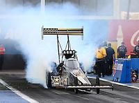 Feb 20, 2015; Chandler, AZ, USA; NHRA top fuel driver Tony Schumacher during qualifying for the Carquest Nationals at Wild Horse Pass Motorsports Park. Mandatory Credit: Mark J. Rebilas-
