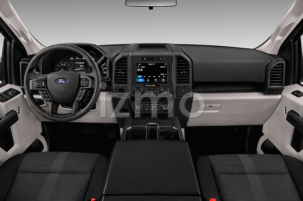 Stock photo of straight dashboard view of 2018 Ford F-150 XL-SuperCrew 4 Door Pickup Dashboard