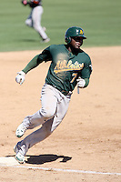 Rashun Dixon#7 of the Oakland Athletics plays in a minor league spring training game against the San Francisco Giants at Papago Park on March 31, 2011 in Phoenix, Arizona. .Photo by:  Bill Mitchell/Four Seam Images.