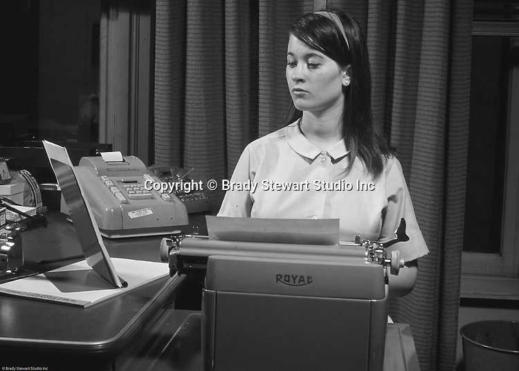 Pittsburgh PA:  Cathleen Brady Stewart, daughter of Brady Stewart Jr., typing up her new resume - 1966.  Soon after, Cathy got a job at National Union Fire Insurance Company in Pittsburgh before heading off to New York City for a very successful advertising career.