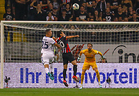 Ludovic Ajorque (Racing Club de Strasbourg Alsace) mit der Kopfballchance gegen Makoto Hasebe (Eintracht Frankfurt), Torwart Kevin Trapp (Eintracht Frankfurt) - 29.08.2019: Eintracht Frankfurt vs. Racing Straßburg, UEFA Europa League, Qualifikation, Commerzbank Arena<br /> DISCLAIMER: DFL regulations prohibit any use of photographs as image sequences and/or quasi-video.