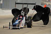 Feb. 10, 2012; Pomona, CA, USA; NHRA top alcohol dragster driver Megan McKernan during qualifying at the Winternationals at Auto Club Raceway at Pomona. Mandatory Credit: Mark J. Rebilas-