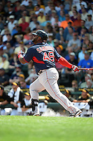 Boston Red Sox third baseman Pablo Sandoval (48) hits a home run during a Spring Training game against the Pittsburgh Pirates on March 12, 2015 at McKechnie Field in Bradenton, Florida.  Boston defeated Pittsburgh 5-1.  (Mike Janes/Four Seam Images)