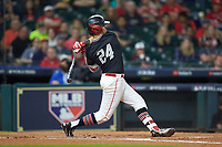 Lael Lockhart Jr. (24) of the Houston Cougars follows through on his swing against the Mississippi State Bulldogs in game six of the 2018 Shriners Hospitals for Children College Classic at Minute Maid Park on March 3, 2018 in Houston, Texas. The Bulldogs defeated the Cougars 3-2 in 12 innings. (Brian Westerholt/Four Seam Images)