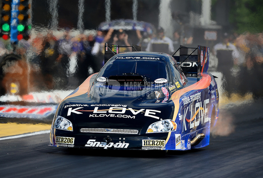 May 4, 2012; Commerce, GA, USA: NHRA funny car driver Tony Pedregon during qualifying for the Southern Nationals at Atlanta Dragway. Mandatory Credit: Mark J. Rebilas-