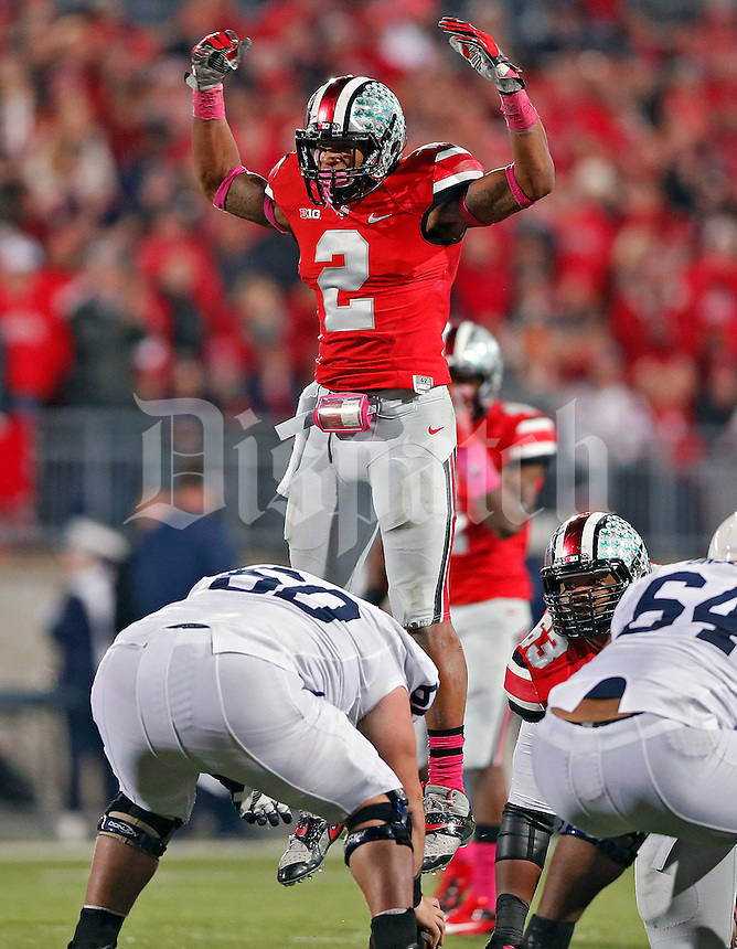 Ohio State Buckeyes linebacker Ryan Shazier (2) pumps up the fans against Penn State Nittany Lions in the 2nd quarter at Ohio Stadium on October 26, 2013.  (Dispatch photo by Kyle Robertson)