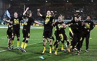 FUSSBALL   DFB POKAL   SAISON 2011/2012   HALBFINALE SpVgg Greuther Fuerth - Borussia Dortmund                  20.03.2012 Jubel nach dem Sieg, Sebastian Kehl, Neven Subotic , Marcel Schmelzer , Robert Lewandowski (v. li., Borussia Dortmund)