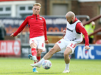 Fleetwood Town's Kyle Dempsey (left) and Paddy Madden during the pre-match warm-up <br /> <br /> Photographer Rich Linley/CameraSport<br /> <br /> The EFL Sky Bet League One - Fleetwood Town v Oxford United - Saturday 7th September 2019 - Highbury Stadium - Fleetwood<br /> <br /> World Copyright © 2019 CameraSport. All rights reserved. 43 Linden Ave. Countesthorpe. Leicester. England. LE8 5PG - Tel: +44 (0) 116 277 4147 - admin@camerasport.com - www.camerasport.com