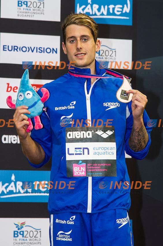 WALKER-HEBBORN Christoph GBR Bronze Medal<br /> 50m Backstroke Men Final<br /> 32nd LEN European Championships <br /> Berlin, Germany 2014  Aug.13 th - Aug. 24 th<br /> Day09 - Aug. 21<br /> Photo G. Scala/Deepbluemedia/Inside