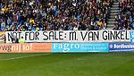 Nederland, Arnhem, 28 april 2013.Eredivisie.Seizoen 2012-2013.Vitesse-Willem II (3-1).Supporters van Vitesse hebben een spandoek opgehangen met de tekst: Not for sale: M. van Ginkel