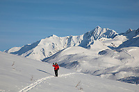 Woman in a red jacket skis across the snow in the Alaska Range mountains, Interior, Alaska.
