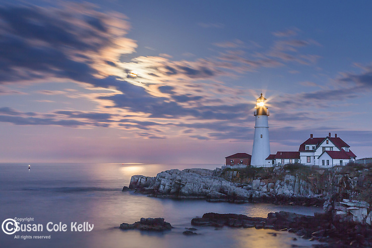 Moonrise at Portland Head Light, Cape Elizabeth, Maine, USA