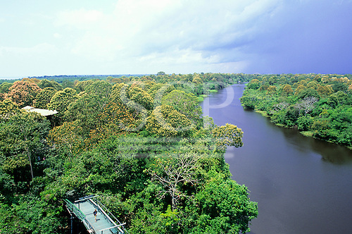 Ariau Tower Jungle Lodge Hotel, Rio Negro, Amazonas State, Brazil. View from the top of the viewing tower.