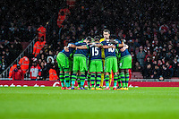 Swansea Huddle during the Barclays Premier League match between Arsenal and Swansea City at the Emirates Stadium, London, UK, Wednesday 02 March 2016