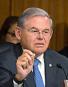 United States Senator Robert Menendez (Democrat of New Jersey), a member of the US Senate Committee on Foreign Relations, at the hearing considering the nomination of Rex Wayne Tillerson, former chairman and chief executive officer of ExxonMobil to be Secretary of State of the US on Capitol Hill in Washington, DC on Wednesday, January 11, 2017.<br /> Credit: Ron Sachs / CNP