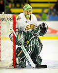 29 December 2010: University of Vermont Catamount goaltender John Vazzano, a Junior from Trumbull, CT, warms up prior to facing the 2011 U.S. Men's National University Team in an exhibition game at Gutterson Fieldhouse in Burlington, Vermont. The Catamounts defeated the National team 7-1. Mandatory Credit: Ed Wolfstein Photo