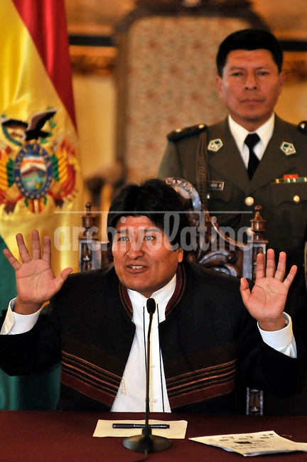 President of Bolivia Evo Morales speaks during a press conference one day before the referendum trying to aprove his new political Constitution for the country.