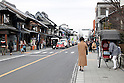 "February 14, 2013, Kawagoe, Japan - Tourist visit the stores along the main street of Little Edo, Kawagoe. An old town from Edo Period (1603-1867) is located in Kawagoe, 30 minutes by train from central Tokyo. In the past Kawagoe was an important city for trade and strategic purpose, the shogun installed some of their most important loyal men as lords of Kawagoe Castle. Every year ""Kawagoe Festival"" is held in the third weekend of October, people pull portable shrine during the parade, later ""dashi"" floats on the streets nearby. The festival started 360 years ago supported by Nobutsuna Matsudaira, lord of Kawagoe Castle. (Photo by Rodrigo Reyes Marin/AFLO).."