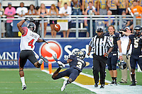24 September 2011:  FIU defensive back Richard Leonard (3) dives in an effort to intercept a pass in the first quarter as the University of Louisiana-Lafayette Ragin Cajuns defeated the FIU Golden Panthers, 36-31, at FIU Stadium in Miami, Florida.