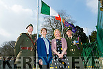 Presentation Secondary School  Proclamation Day Pictured Lieutenant Damien Ginty, Mary O'Keeffe, Principal, Margaret Barry, English and History Teacher and  Sergeant David Locke