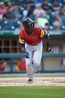 Daz Cameron (10) of the Toledo Mud Hens starts down the first base line as he watches the flight of his home run against the Charlotte Knights at BB&T BallPark on April 23, 2019 in Charlotte, North Carolina. The Knights defeated the Mud Hens 11-9 in 10 innings. (Brian Westerholt/Four Seam Images)