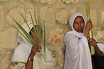Israel, Jerusalem, Ethiopian Orthodox Pilgrims celebrate Palm Sunday at the Church of the Holy Sepulchre