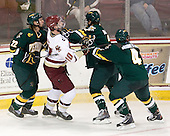 Josh Burrows (Vermont - 22), Jimmy Hayes (BC - 10), Drew MacKenzie (Vermont - 2), Nick Bruneteau (Vermont - 4) - The Boston College Eagles defeated the visiting University of Vermont Catamounts 6-0 on Sunday, November 28, 2010, at Conte Forum in Chestnut Hill, Massachusetts.