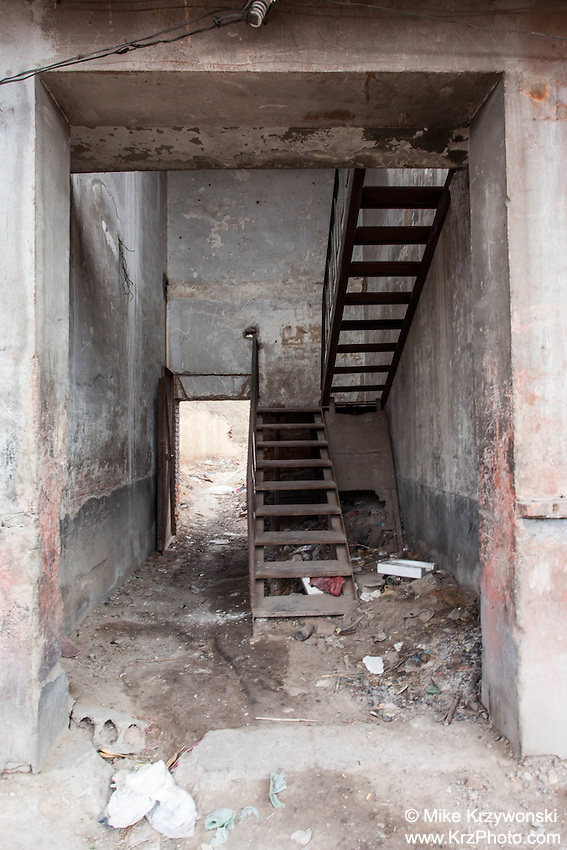 Stairway beneath an abandoned building in the Shanxi Province of China