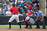 Zach Remillard (8) of the Kannapolis Intimidators at bat against the Rome Braves at Kannapolis Intimidators Stadium on April 12, 2017 in Kannapolis, North Carolina.  The Braves defeated the Intimidators 4-3.  (Brian Westerholt/Four Seam Images)