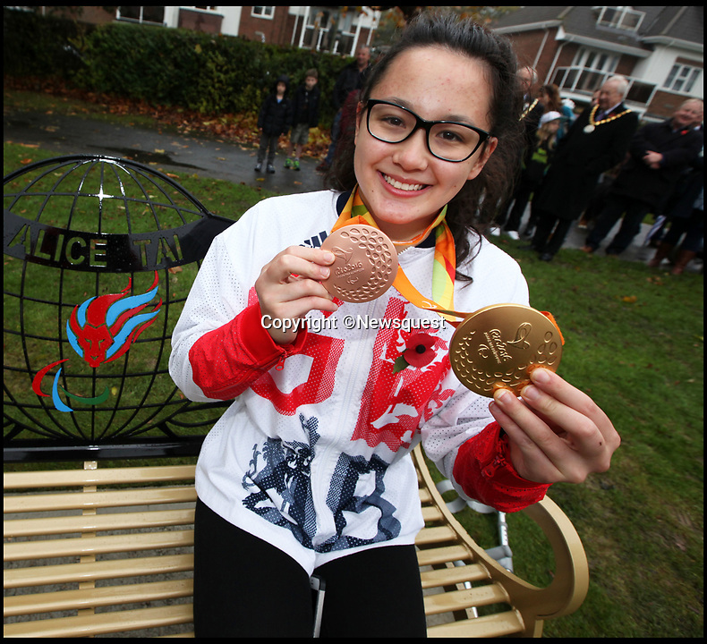 BNPS.co.uk (01202 558833)<br /> Pic: StuartMartin/Newsquest<br /> <br /> Alice Tai unveiling a park bench in her home town of New Milton, Hampshire in honour of  her Paralympic gold in 2016.<br /> <br /> A Paralympic gold medalist was banned from competing in the final of a regular swimming race because of her disability.<br /> <br /> Alice Tai was 'disgusted' with the ruling after she had sailed through the heats of the Middlesex County Championships against able-bodied swimmers.<br /> <br /> But she was prevented from taking her rightful place in the finals of the 50m and 100m backstroke because she wasn't eligible.