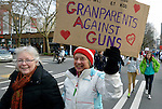 "These members of ""Grandmothers Against Guns"" were among hundreds of Seattle residents who marched from Westlake Center Park to the Seattle Center on January 13, 2013, calling for stricter regulations of firearms. Sponsored by a network of churches and other groups called ""Stand-up Washington,"" the demonstrators called for a state ban on semi-automatic weapons as well as stricter gun laws."