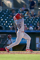Clearwater Threshers Matt Kroon (45) hits a home run during a Florida State League game against the Palm Beach Cardinals on August 10, 2019 at Roger Dean Chevrolet Stadium in Jupiter, Florida.  Clearwater defeated Palm Beach 11-4.  (Mike Janes/Four Seam Images)