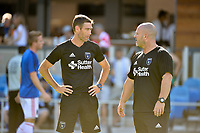 San Jose, CA - Saturday June 17, 2017: Steve Ralston, John Spencer prior to a Major League Soccer (MLS) match between the San Jose Earthquakes and the Sporting Kansas City at Avaya Stadium.
