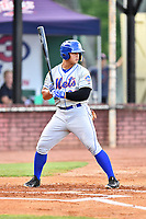 Kingsport Mets right fielder Raul Beracierta (23) awaits a pitch during a game against the Elizabethton Twins at Joe O'Brien Field on August 7, 2018 in Elizabethton, Tennessee. The Twins defeated the Mets 16-10. (Tony Farlow/Four Seam Images)