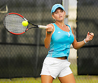 Florida International University senior Shilla D'Armas returns a shot during her match on the final day of the FIU Spring Invitational, January 19-21, 2007 at Miami, Florida.  D'Armas defeated the University of Miami's Emily Mowery, 7-5, 3-6, 1-0 (10-7 tiebreaker)..