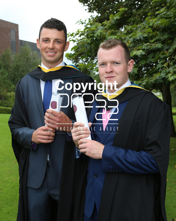 24/8/2014  With Compliments.  Attending the University of Limerick conferrings Cathal Moloney, Ennistymon and Paul Fogarty, Tubber both conferred with BTech(Education) in Materials and Architectural Technology.<br /> Picture Liam Burke/Press 22