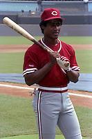Cincinnati Reds Mariano Duncan before a game against the Atlanta Braves circa 1989 at Atlanta-Fulton County Stadium in Atlanta, Georgia.  (MJA/Four Seam Images)