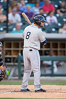 James Ramsey (8) of the Columbus Clippers at bat against the Charlotte Knights at BB&T BallPark on May 27, 2015 in Charlotte, North Carolina.  The Clippers defeated the Knights 9-3.  (Brian Westerholt/Four Seam Images)