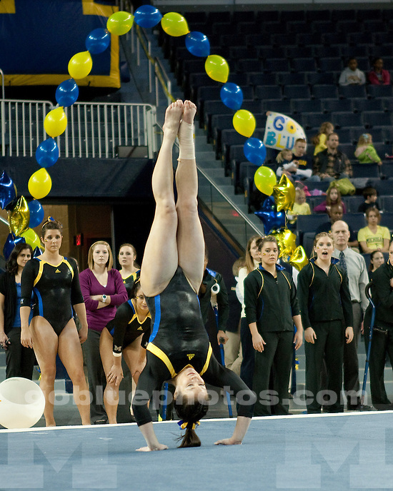 The University of Michigan women's gymnastics team beat No. 20 West Virginia 194.650-194.050 at Crisler Center in Ann Arbor, Mich., on February 3, 2012.