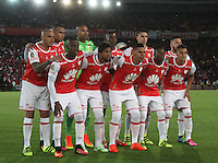 BOGOTA -COLOMBIA, 18-08-2016. Formación  de Independiente Santa Fe de Colombia contra River Plate de Argentina.    durante pimer encuentro de ida  de la Recopa Sudamerica disputado en el estadio Nemesio Camacho El Campín./ Team of Independiente Santa Fe of Colombia agaisnt of River Plate of Argentina during the first leg of the Recopa Sudamerica played at the Nemesio Camacho El Campin Stadium . Photo:VizzorImage / Felipe Caicedo  / Staff