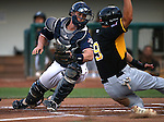 Reno Aces&rsquo; Dan Rohlfing tags out Salt Lake Bees&rsquo; Rafael Ortega during a game at Greater Nevada Field, in Reno, Nev., on Wednesday, Aug. 10, 2016.  The Aces won 3-1.<br /> Photo by Cathleen Allison