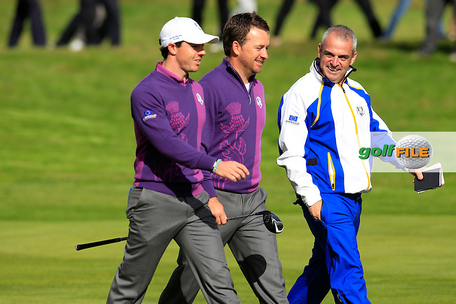Captain Paul McGinley ,Rory McIlroy  and Graeme McDowell (EUR) during Practice on Wednesday at the 40th Ryder Cup, The Gleneagles Hotel, Perthshire from 26th to 28th September 2014<br /> Picture Eoin Clarke, www.golffile.ie