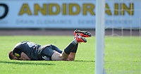 Lincoln City's Harry Anderson lays on the ground after suffering an injury in the second half<br /> <br /> Photographer Chris Vaughan/CameraSport<br /> <br /> The EFL Sky Bet League Two - Carlisle United v Lincoln City - Friday 19th April 2019 - Brunton Park - Carlisle<br /> <br /> World Copyright © 2019 CameraSport. All rights reserved. 43 Linden Ave. Countesthorpe. Leicester. England. LE8 5PG - Tel: +44 (0) 116 277 4147 - admin@camerasport.com - www.camerasport.com
