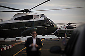 Marine One, with United States President Barack Obama aboard, arrives in Manhattan ahead of the General Assembly at the United Nations (UN) headquarters in New York, New York on Sunday, September 18, 2016. Obama will address the 71st UN General Assembly Tuesday in his last major appearance at the annual gathering of world leaders.<br /> Credit: John Taggart / Pool via CNP