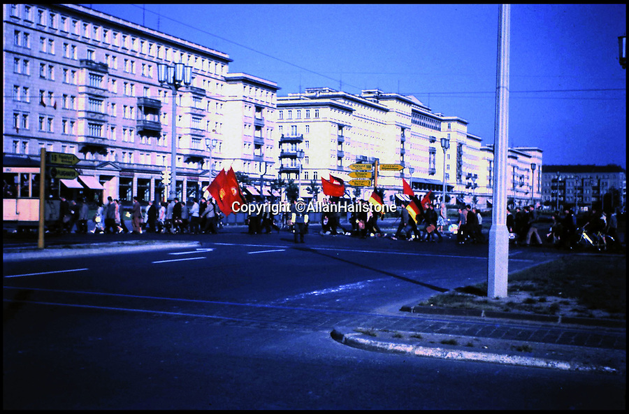 BNPS.co.uk (01202 558833)<br /> Pic: AllanHailstone/BNPS<br /> <br /> Stalinallee - the premier street in communist east Berlin.<br /> <br /> New book reveals unseen pictures of the bleak landscape of Cold War Berlin.<br /> <br /> The remarkable photos were taken by a British visitor before and after the Berlin Wall was built in 1961.<br /> <br /> Retired coin dealer Allan Hailstone visited Berlin several times between 1959 and 1966 and took hundreds of photos of both West Berlin and East Berlin.<br /> <br /> The 78 year old was struck by the stark contrast between the vibrant, colourful West Berlin he encountered and rubble-filled, sparse East Berlin.<br /> <br /> During his first visit to Berlin in 1959, Mr Hailstone was able to walk freely between the two sides of the city, but this changed when he returned in 1962 as the Berlin Wall had been built to stop east Berliners from escaping to the west.
